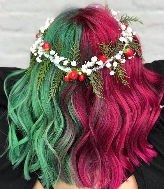 Christmas Hair Hair Trends Christmas Braided Hairstyles Hair Color Styles Christmas-Themed Hair Holiday Hair Party Hairstyles